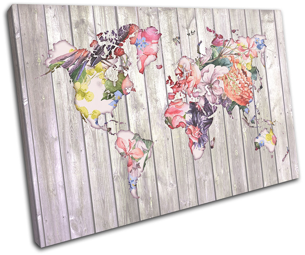 World Map Floral Flowers Picture SINGLE CANVAS WALL ART Print