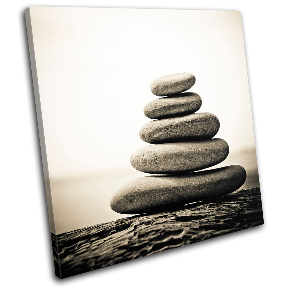 Pebbles Tranquil Bathroom SINGLE CANVAS WALL ART Picture Print VA