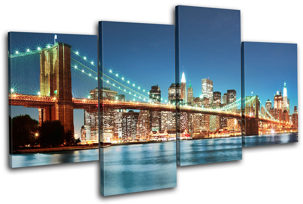 New York Skyline bridge City MULTI CANVAS WALL ART Picture Print VA ...
