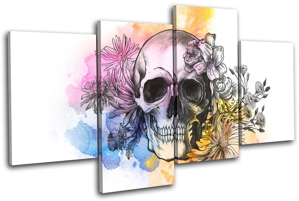 Tattoo Skull Grunge Floral Graffiti MULTI CANVAS WALL ART Picture Print VA
