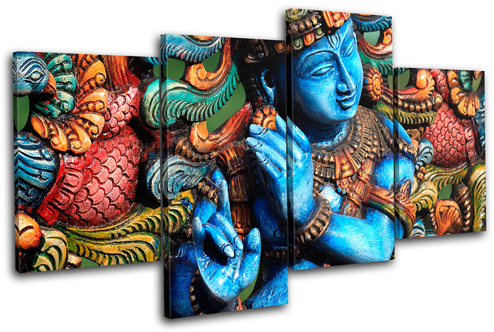 Lord Krishna Hindu Religion MULTI CANVAS WALL ART Picture Print VA ...