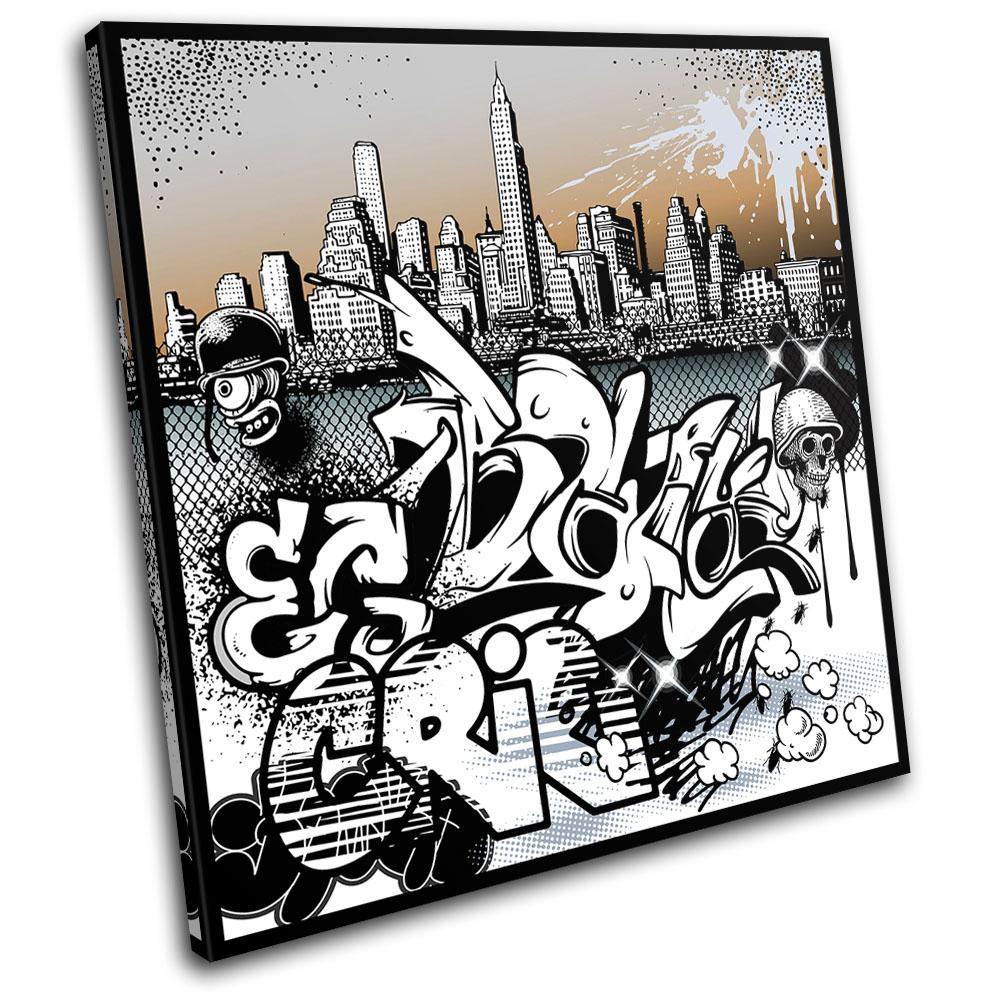 City Urban Art Graffiti SINGLE CANVAS WALL ART Picture Print VA