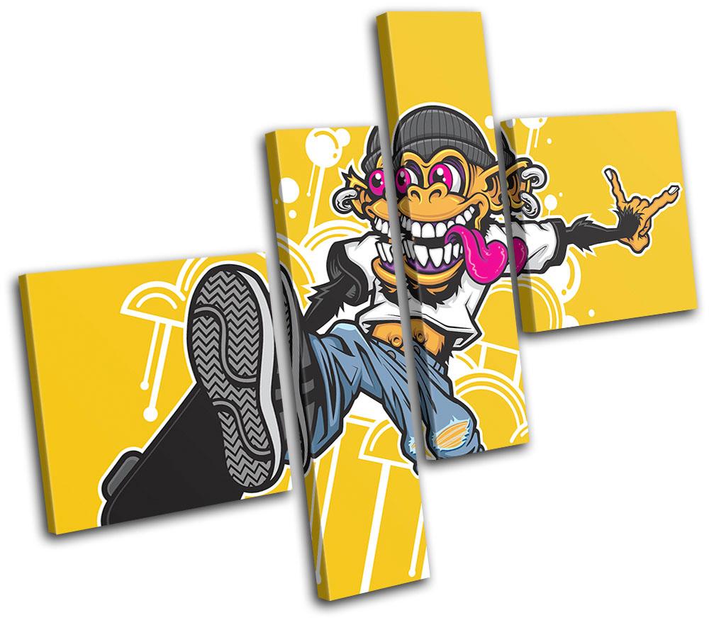 Skateboarding Monkey Graffiti MULTI CANVAS WALL ART Picture Print VA ...