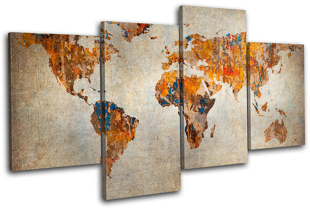 Grunge World Atlas Maps Flags MULTI CANVAS WALL ART Picture Print VA ...