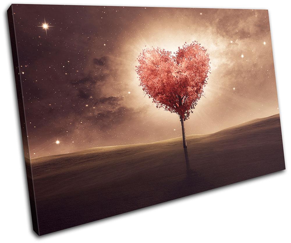 Bedroom Canvas Wall Art Uk: Heart Bedroom Romantic Night Love SINGLE CANVAS WALL ART