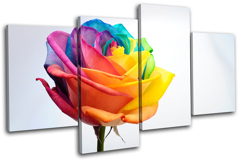 Exceptional Image Is Loading Rainbow Rose Floral MULTI CANVAS WALL ART Picture