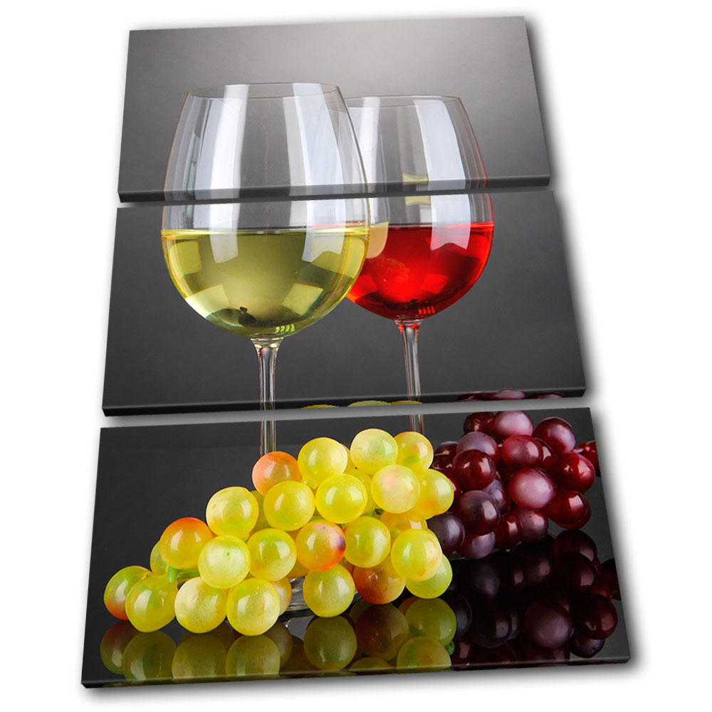 Red wine drink grape Food Kitchen TREBLE CANVAS WALL ART Picture Print VA