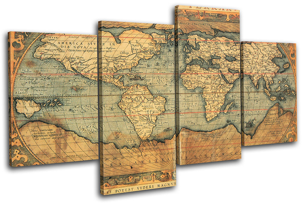 Old world atlas maps flags multi canvas wall art picture print va ebay multi color gumiabroncs Images