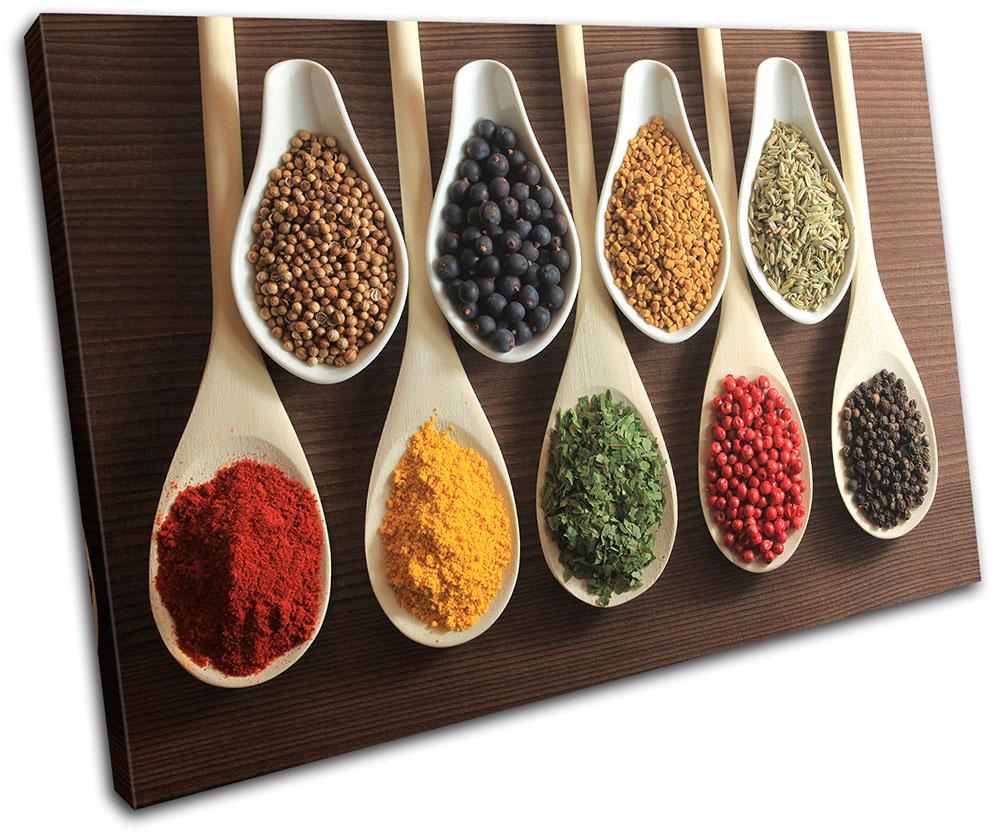 Spices  Food Kitchen MULTI CANVAS WALL ART Picture Print VA