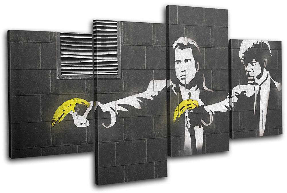 Pulp Fiction Banksy Hi Res MULTI CANVAS WALL ART Picture Print VA   eBay