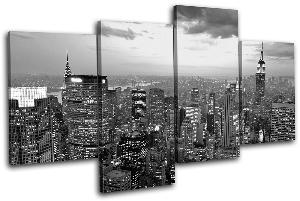 new york nyc skyline city multi canvas wall art picture print va ebay