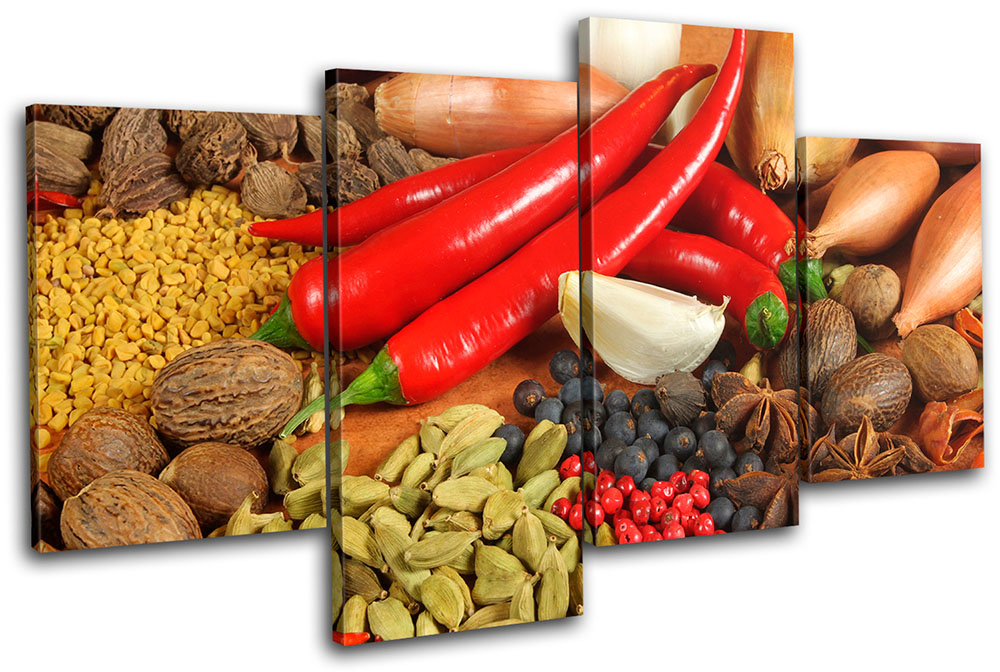 Spices Restaurant Food Kitchen TREBLE CANVAS WALL ART Picture Print VA