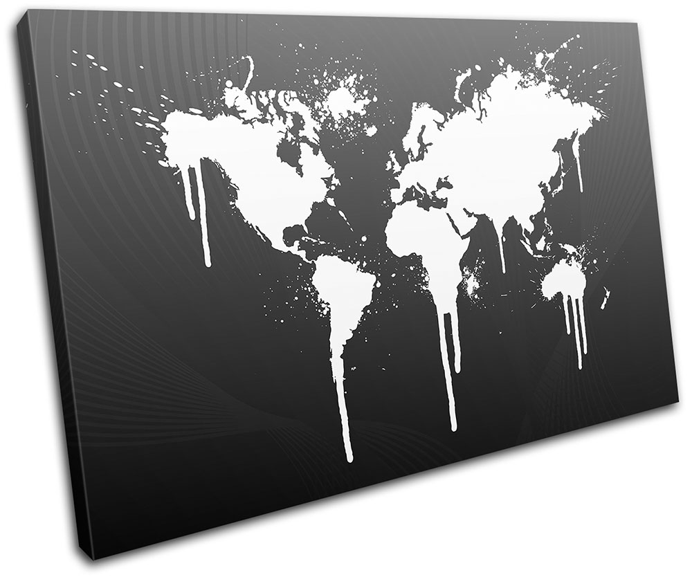 World Atlas Funky Cool Maps Flags TREBLE CANVAS WALL ART Picture Print VA