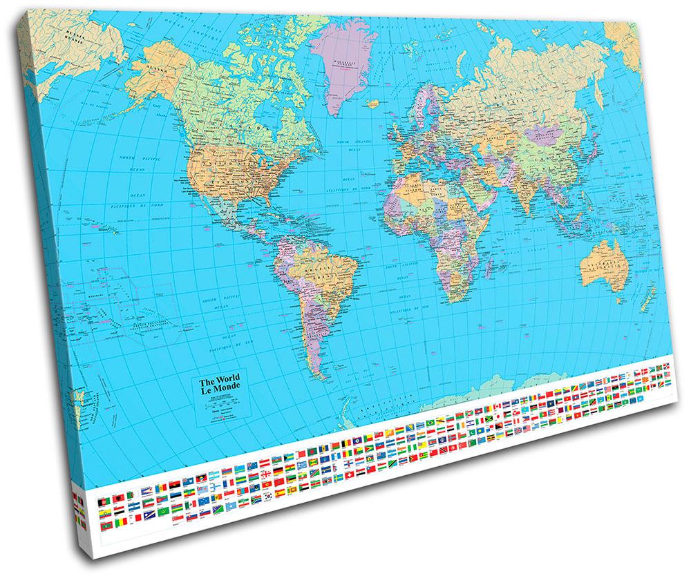 School World Atlas Maps Flags TREBLE CANVAS WALL ART Picture Print VA