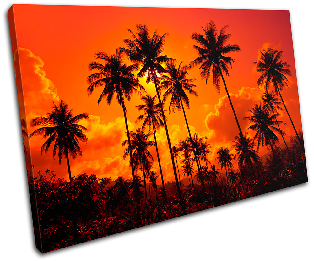 Beach Sandals Sunset Seascape SINGLE CANVAS WALL ART Picture Print VA
