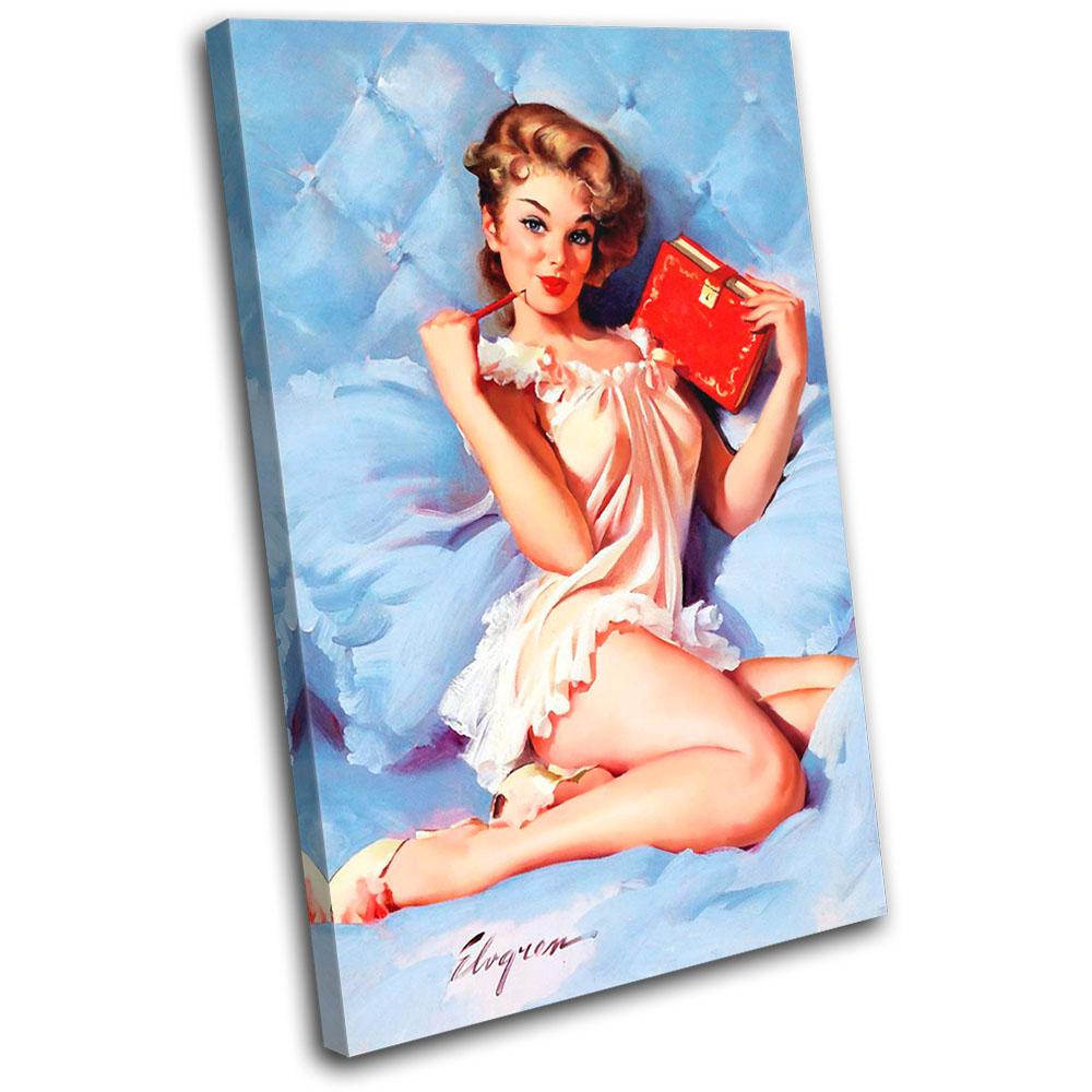 Vintage Girl Retro Pin-ups SINGLE CANVAS WALL ART Picture Print VA