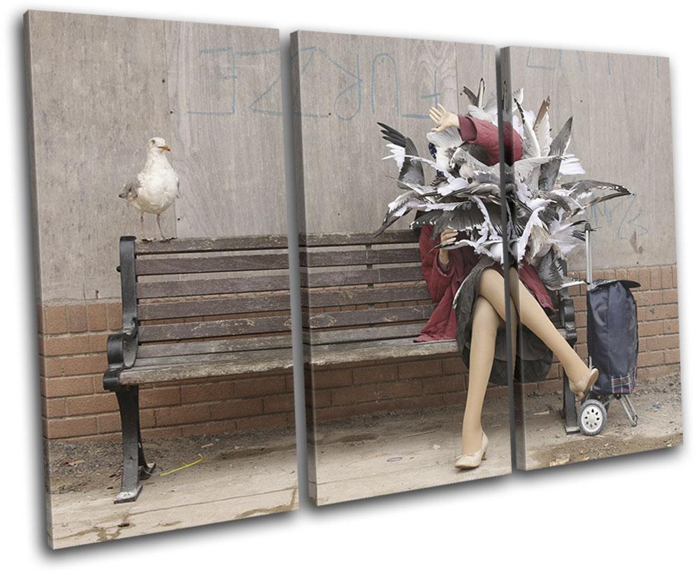 Graffiti Pop Banksy Street TREBLE CANVAS WALL ART Picture Print VA