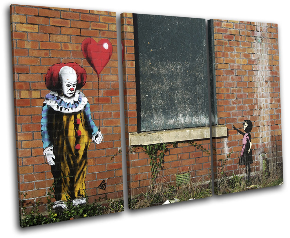 POP CLOWN IT PAINT BY BANKSY PRINT ON FRAMED CANVAS PICTURE WALL ART DECORATION