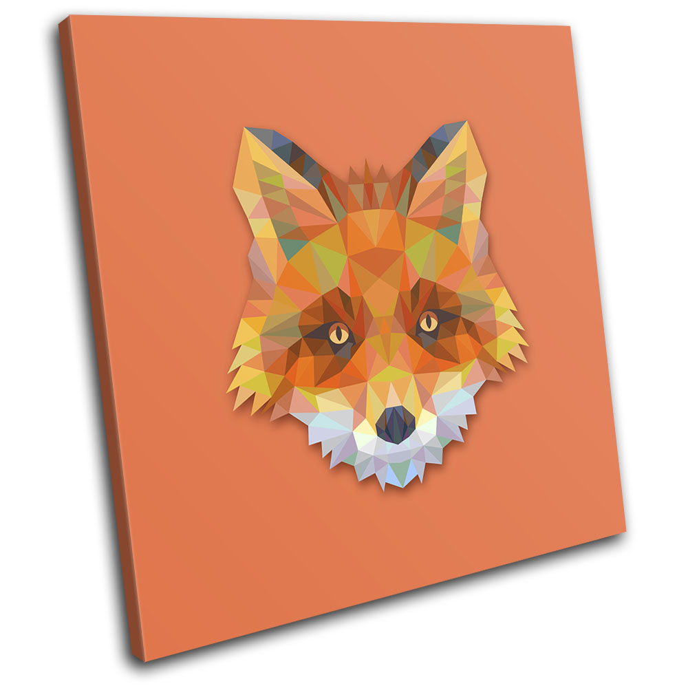 Geometric Abstract Fox Animals SINGLE CANVAS WALL ART Picture Print