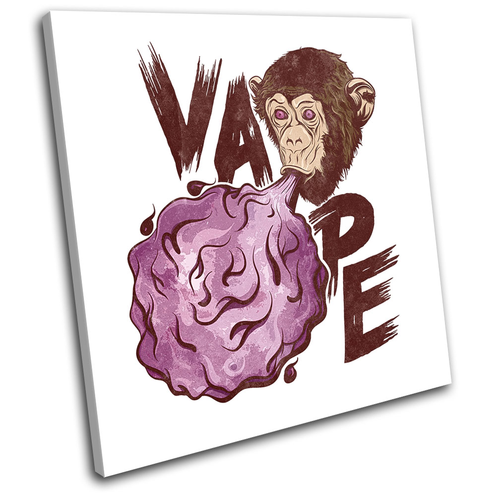 Details about Vape Monkey Illustration SINGLE CANVAS WALL ART Picture Print