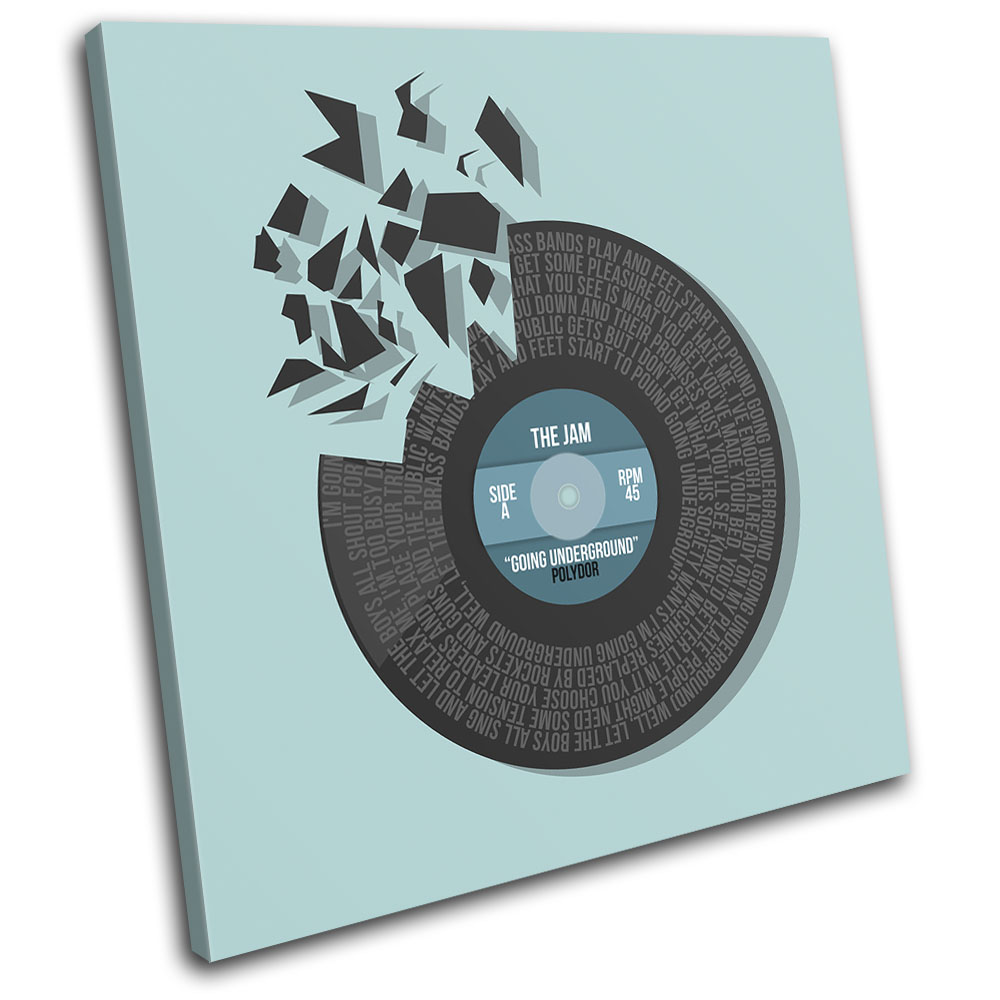 The Jam Underground Record Vinyl Song Lyrics Canvas Wall Art Picture Print