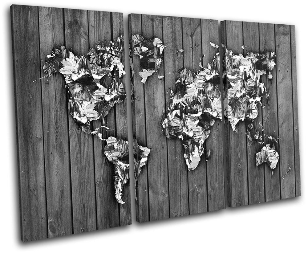 Details about world atlas paint wood b w maps flags treble canvas wall art picture print