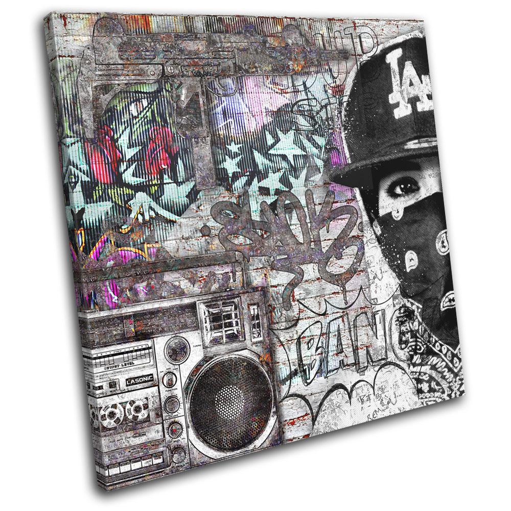 Gangster Street Urban Boombox Graffiti Single Canvas Wall Art