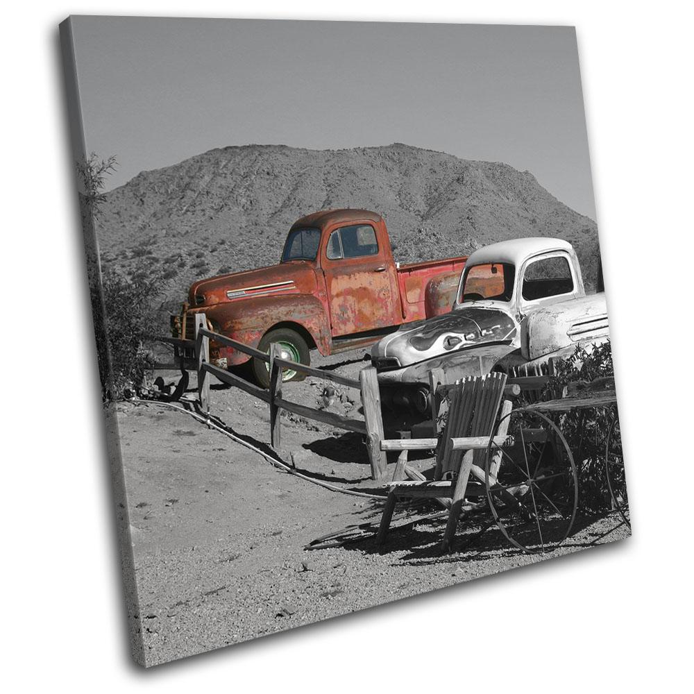 Decayed Grunge Desert Car Purple Urban SINGLE CANVAS WALL ART Picture Print