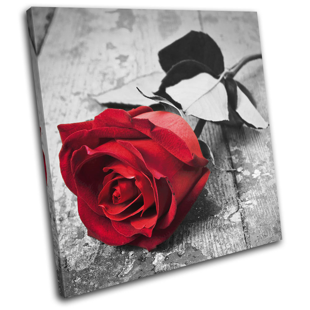 Details about Red Roses Flowers Love Wood Floor Floral SINGLE CANVAS WALL  ART Picture Print