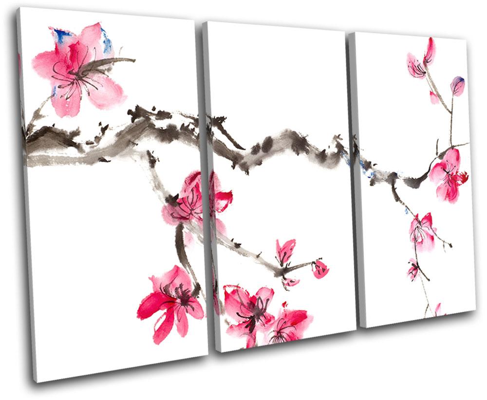 Cherry Blossom Tree Landscapes SINGLE CANVAS WALL ART Picture Print VA