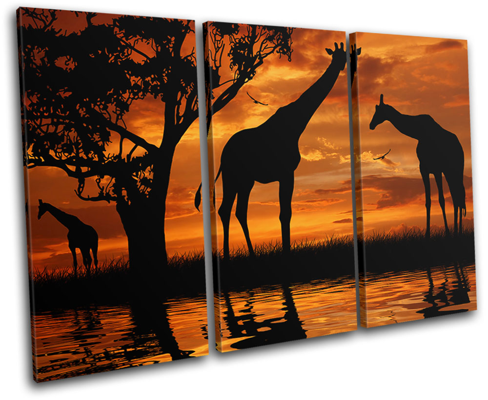 Africa Sunset Wildlife Safari CANVAS WALL ART Picture Print Single