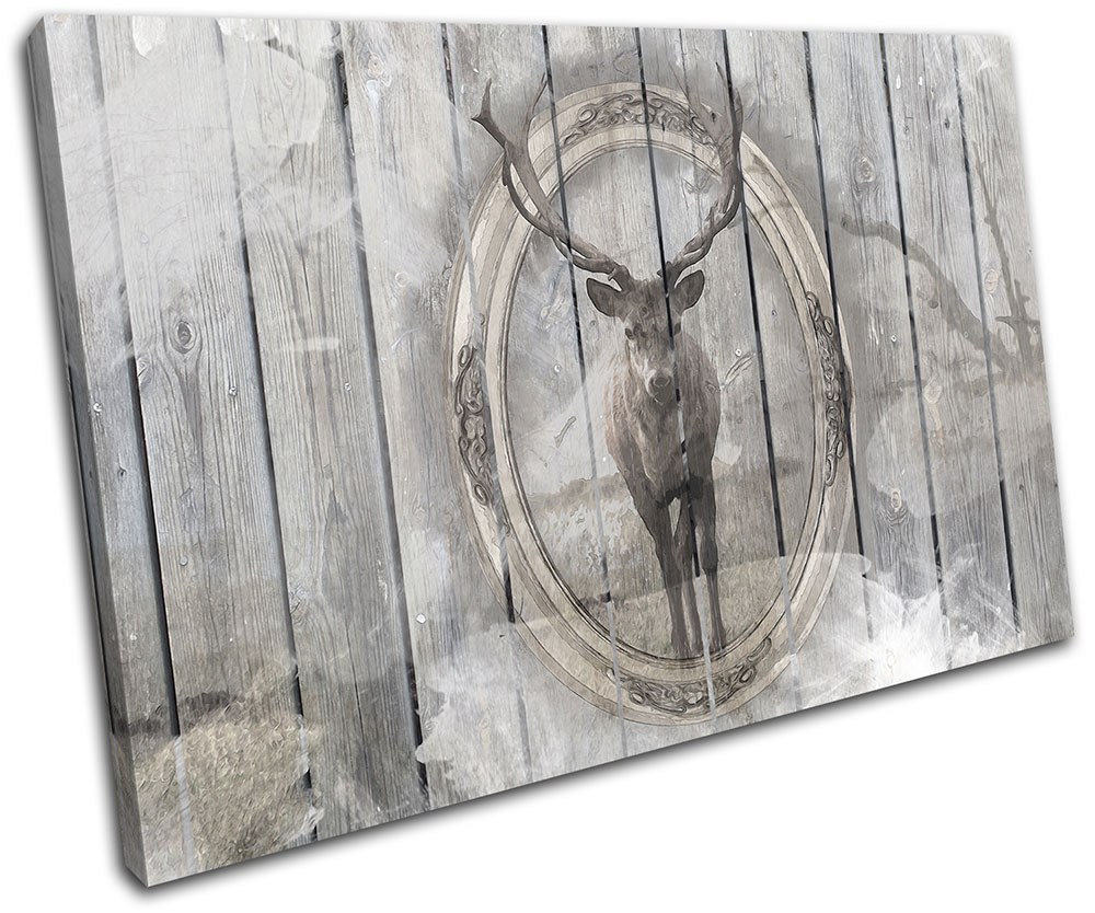 Shabby Chic Stag Wood  Vintage BOX FRAMED CANVAS ART Picture HDR 280gsm