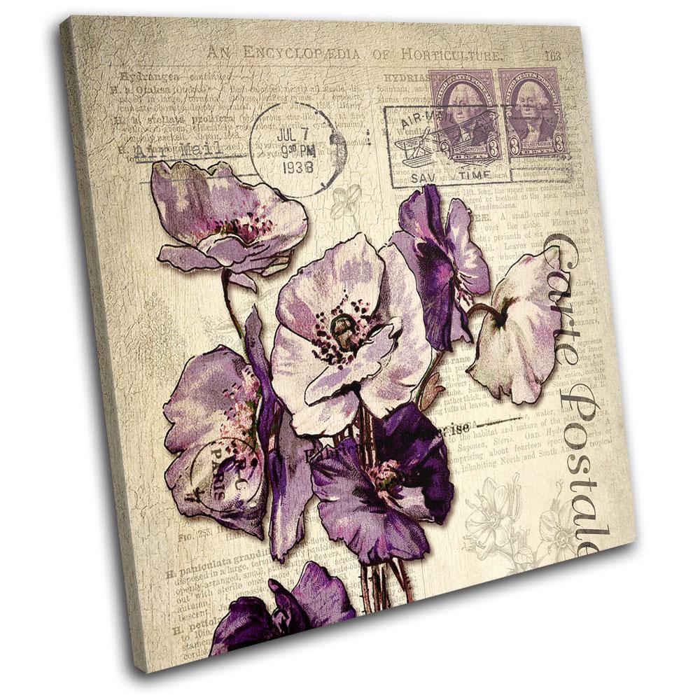 Floral Floral Vintage shabby chic TREBLE CANVAS WALL ART Picture Print VA